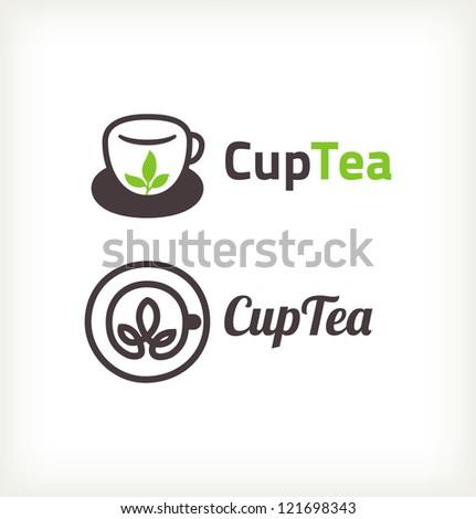 Green tea symbols - stock vector
