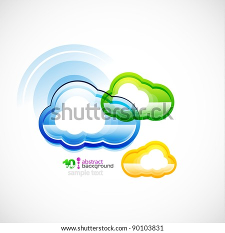 Green technology computer cloud vector background - stock vector