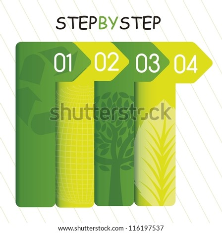green template of numbers, step by step. vector illustration - stock vector