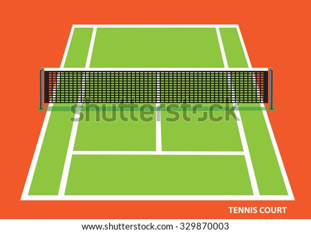 Green tennis court with low net stretched across the center, viewed slightly from top with visible length and width. Vector illustration of  isolated on bright orange background. - stock vector