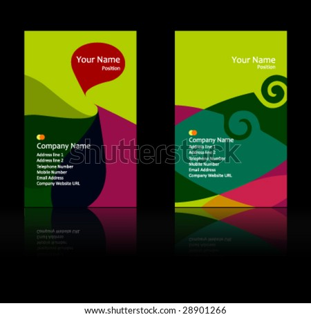 green theme business card - stock vector