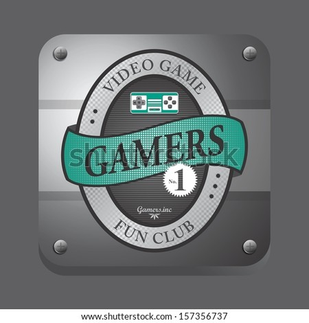 green theme video game club button label art - stock vector
