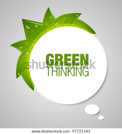Green thinking bubble isolated on grey background - stock vector