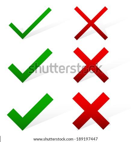 Green tick, red cross vector set - stock vector