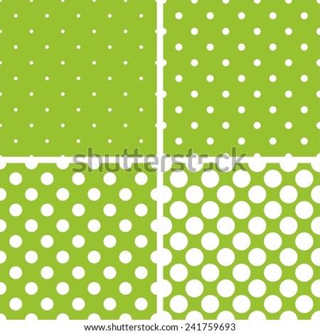 Green tile background vector set. White polka dots on pastel green background. - stock vector