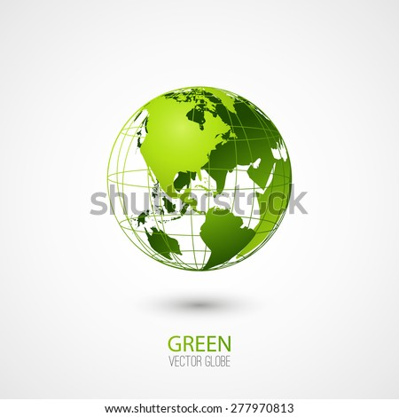 Green transparent globe isolated in white background. Vector icon. - stock vector