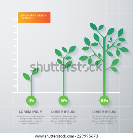 Green tree and plant diagram infographics template. Vector illustration. Business development and growth concept. - stock vector