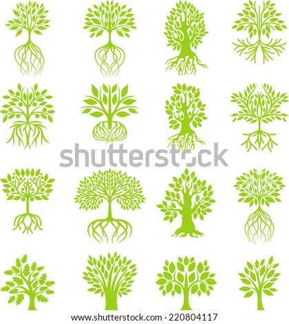 Green tree collection  - stock vector