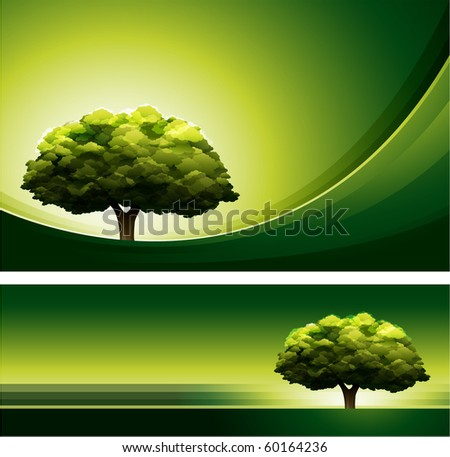 Green tree design background - stock vector