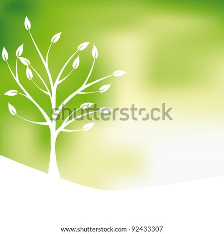 Green tree design background, abstract - stock vector