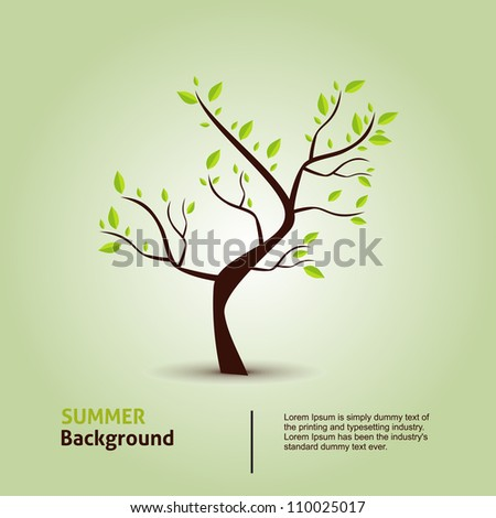 Green tree. Hand draw vector eco background. - stock vector
