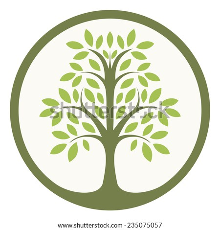 Green tree of life in a circle - stock vector