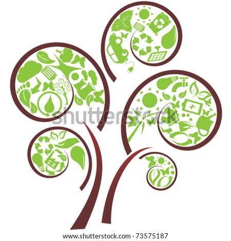Green tree with eco symbols - stock vector