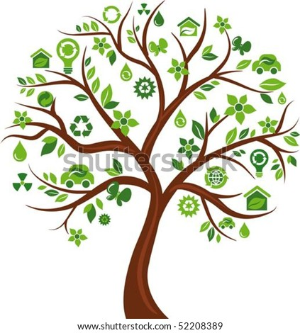 Green tree with many ecological icons and logos - stock vector