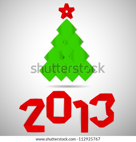 Green tree with red stripe 2013 numerals christmas card - stock vector