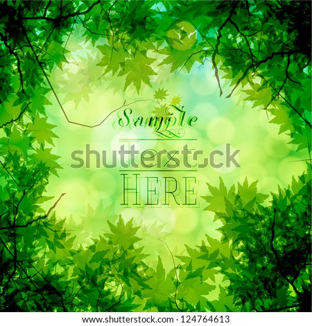 Green trees and bokeh vector background - stock vector