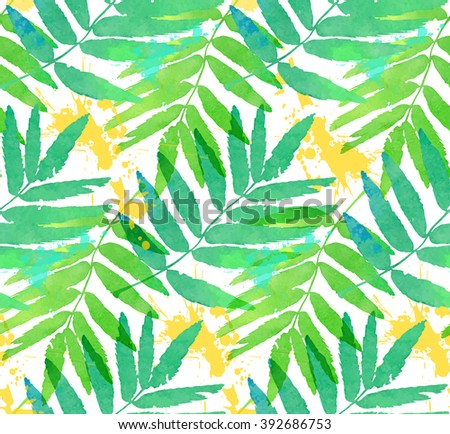 Green tropical leaves watercolor imitation vector seamless pattern - stock vector