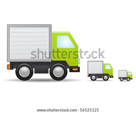Green truck icon - stock vector