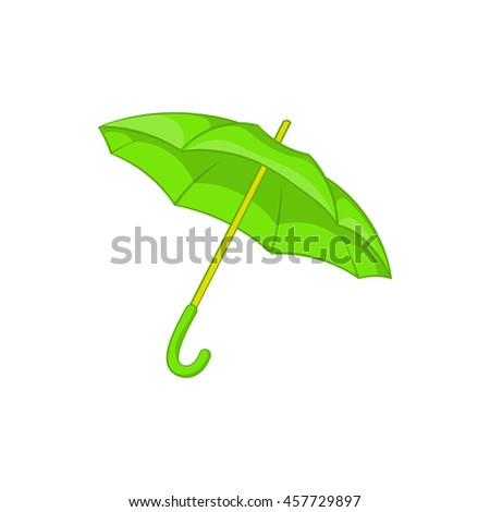 Green umbrella icon in cartoon style isolated on white background. Protection from rain symbol - stock vector
