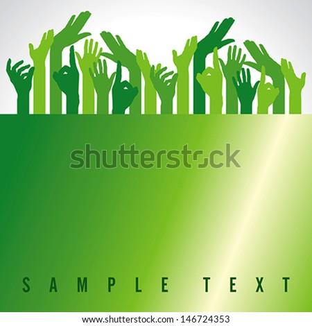 green up hands, vector illustration - stock vector