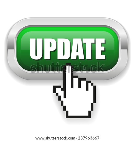 Green Update Button With Metal Border On White Background - stock vector