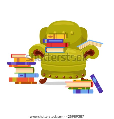 Green vector armchair with piles of books on it. Love reading. Cartoon interior illustration. Cute furniture - stock vector