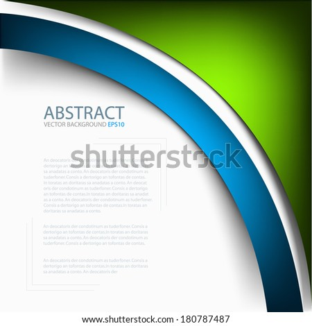 green vector background abstract blue line curve pattern on white background for text and message design - stock vector
