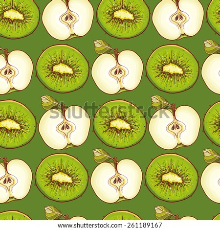 Green vector background for design with apples and kiwis. Seamless pattern with fruits. eps 10 - stock vector