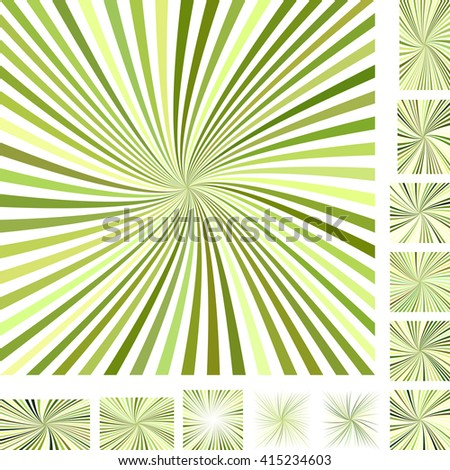 Green vector burst design background set. Different color, gradient, screen, paper size versions. - stock vector
