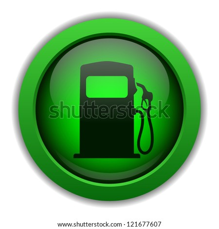 Green vector button with illustration of gas pump on it, isolated on white background - stock vector