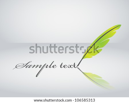 Green vector feather writing - stock vector