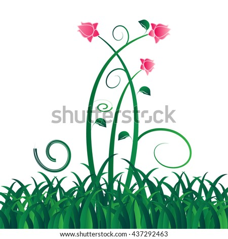 Green vector isolated grass with flowers on white background - stock vector