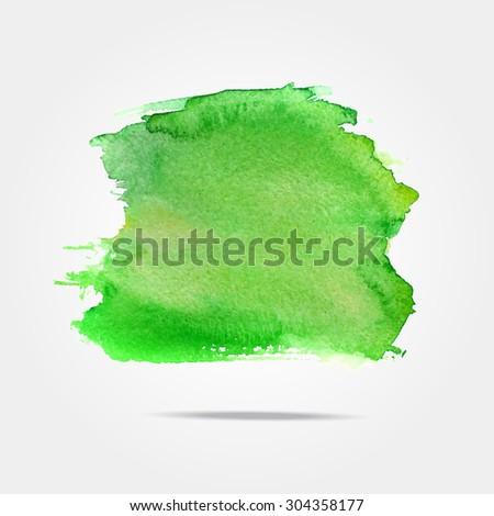 Green vector isolated watercolor paint splash, background with Watercolor splash in vector. Abstract green watercolor hand painted background stain  - stock vector