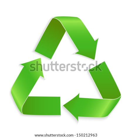 Green vector recycle icon isolated on white background - stock vector