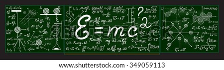 Green vector school blackboard with chalk physical and mathematical drawings, formulas, equations, plots and figures - stock vector