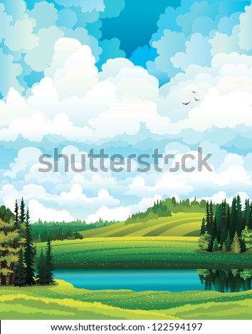 Green vector summer landscape with forest, river and hill on a cloudy sky background - stock vector