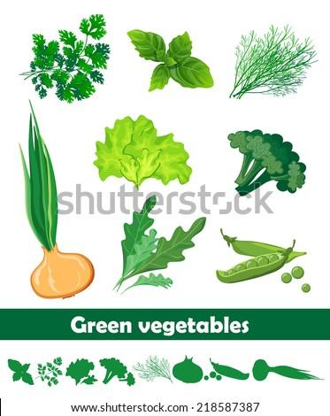 green vegetables set - stock vector