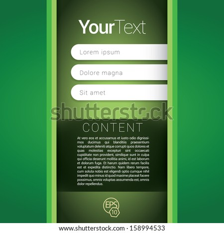 Green, vertical edition of a scalable abstract geometric flat gui design for placing objects, images, icons, photos, and content. For print, for desktop, application or for universal use. - stock vector