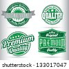 green vintage label collection - stock vector