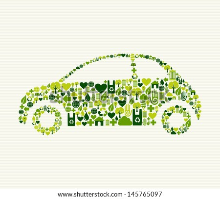 Green vintage light car design eco friendly hand drawn  . This illustration is layered for easy manipulation and custom coloring - stock vector