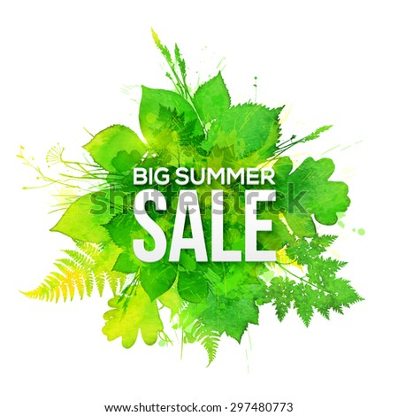 Green watercolor foliage Big Summer Sale vector banner - stock vector