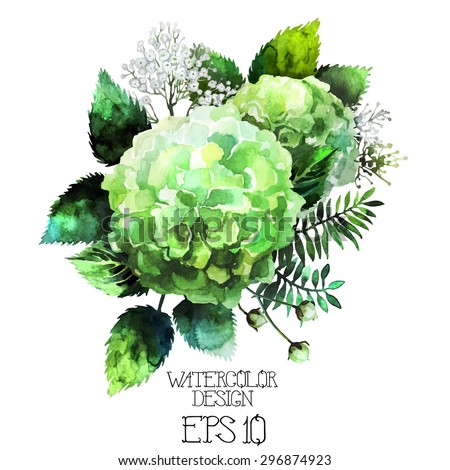Green watercolor  hydrangea vignette. Vector design element isolated on white background - stock vector