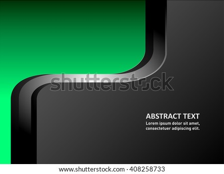Green wave background vector overlap dimension 3d graphic metal color message board for text and message design frame line shadow for modern web design eps10 infographic  - stock vector