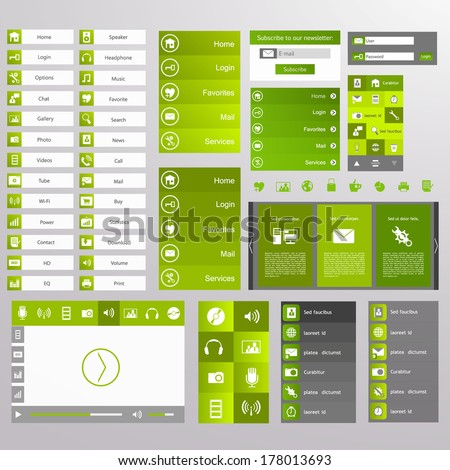 Green Web Design, elements, buttons, icons. Templates for website.  - stock vector