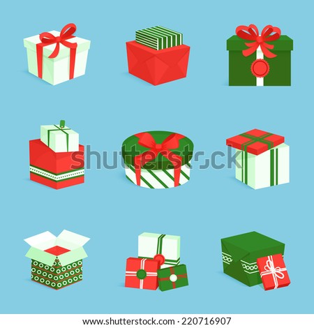 Green white and red boxes and package gift delivery icons set isolated vector illustration - stock vector