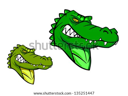 Green wild alligator in cartoon style for sports mascot design. Jpeg version also available in gallery - stock vector