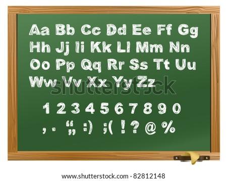 green Wood school desks set and hand-drawn chalk alphabet - stock vector