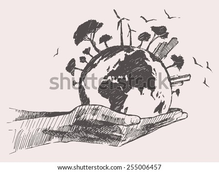 Green world concept. Tree on the earth in hands, hand drawn vector illustration, sketch, doodle - stock vector