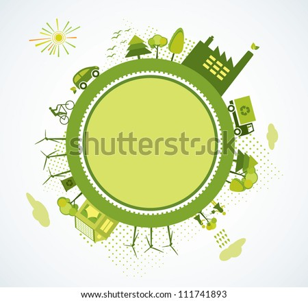 Green world, green planet, go green - stock vector