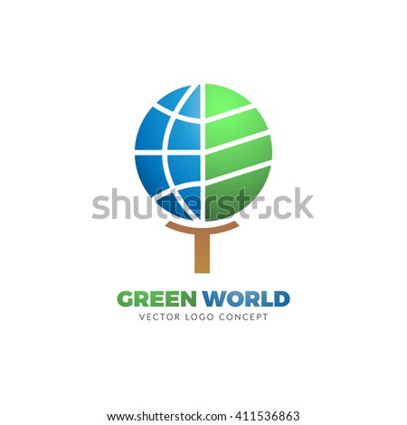 Green World logo concept. The design is suitable for all ecology related businesses, innovative materials and technologies, water, fresh food and nature. Tree and globe Eco icon. - stock vector